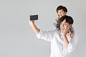아빠, 소년, 아들, 가족, 스마트폰, 셀피