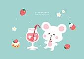 딸기, 봄, 캐릭터, 토끼 (토끼목), 디저트
