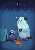 겨울, 풍경 (컨셉), 환상 (컨셉), 밤 (시간대), 괴물 (가상존재), 캠핑, 모닥불 (불)
