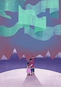 겨울, 풍경 (컨셉), 환상 (컨셉), 눈 (얼어있는물), 언덕, 오로라 (빛효과), 뒷모습, 설경 (풍경)