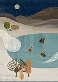 겨울, 풍경 (컨셉), 환상 (컨셉), 눈 (얼어있는물), 언덕, 아이스스케이팅 (겨울스포츠), 나무, 보름달, 달 (하늘)