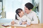딸, 아빠, 거실, 미소, 재택근무