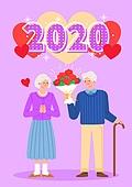 2020년, 새해 (홀리데이), 파이팅 (흔들기), 환호 (말하기), 새로움 (상태), 시작, 사람, 커플, 노인커플 (이성커플), 노인 (성인), 꽃다발