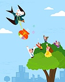 제비, 좋은소식 (컨셉), 새해 (홀리데이), 2020년 (년), 쥐띠해 (십이지신), 캐릭터, 복주머니 (한국문화)