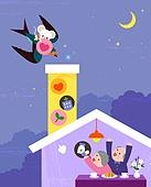 제비, 좋은소식 (컨셉), 새해 (홀리데이), 2020년 (년), 쥐띠해 (십이지신), 캐릭터, 밤 (시간대), 혜택, 노인커플 (이성커플)