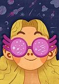 어린이 (나이), 상상력 (컨셉), 환상 (컨셉), 몽상 (정지활동), 선글라스, 우주 (자연현상)