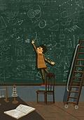 어린이 (나이), 상상력 (컨셉), 환상 (컨셉), 몽상 (정지활동), 칠판, 공부, 갈겨씀 (패턴)