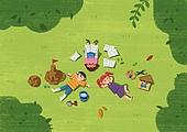 어린이 (나이), 상상력 (컨셉), 환상 (컨셉), 몽상 (정지활동), 탑앵글 (카메라앵글), 숲, 풀 (식물)