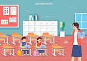 저출생 (컨셉), 어린이 (나이), 아기 (나이), 사회이슈 (주제), 교실, 교사 (교육직), 초등학교