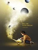 그래픽이미지, 합성, 편집디자인, 이벤트페이지, 어린이 (나이), 꿈같은 (컨셉), 가상현실 (컨셉), 달 (하늘), 별 (우주), 희망