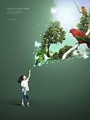 그래픽이미지, 합성, 편집디자인, 이벤트페이지, 어린이 (나이), 꿈같은 (컨셉), 가상현실 (컨셉), 달 (하늘), 별 (우주), 희망, 앵무새