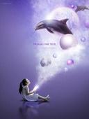 그래픽이미지, 합성, 편집디자인, 이벤트페이지, 어린이 (나이), 꿈같은 (컨셉), 가상현실 (컨셉), 달 (하늘), 별 (우주), 희망, 돌고래 (수중포유동물), 돌고래떼 (해양동물떼)