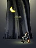 그래픽이미지, 합성, 편집디자인, 이벤트페이지, 어린이 (나이), 꿈같은 (컨셉), 가상현실 (컨셉), 달 (하늘), 별 (우주), 희망, 도시, 야경