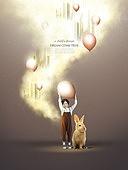 그래픽이미지, 합성, 편집디자인, 이벤트페이지, 어린이 (나이), 꿈같은 (컨셉), 가상현실 (컨셉), 달 (하늘), 별 (우주), 희망, 토끼 (토끼목), 풍선