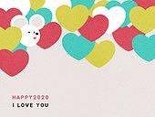 패턴, 백그라운드, 2020년, 부드러움 (컨셉), 쥐띠해 (십이지신), 하트
