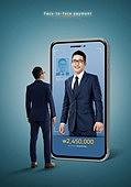 그래픽이미지, 사회이슈 (주제), 스마트폰, 페이스결제, 모바일결제, 안면인식기술 (생체인식), 생체인식, 모바일뱅킹, 구매, 5G, 비즈니스맨, 온라인쇼핑