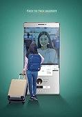 그래픽이미지, 사회이슈 (주제), 스마트폰, 페이스결제, 모바일결제, 안면인식기술 (생체인식), 생체인식, 모바일뱅킹, 구매, 5G, 여성, 쇼핑 (상업활동), 온라인쇼핑