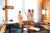 여성, 호텔, 호캉스, 미소, 친구, 연말파티
