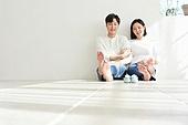 아내 (가족구성원), 커플 (인간관계), 임신 (물체묘사), 미소, 행복, 희망, 밝은표정