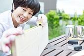 중년여자 (성인여자), 욜로 (컨셉), 취미, 목재, 만족, 미소
