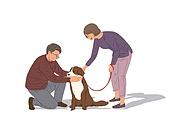 노인 (성인), 반려동물, 애정 (밝은표정), 애완견 (개)