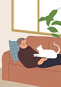 노인 (성인), 반려동물, 애정 (밝은표정), 고양이 (고양잇과)