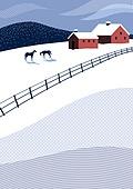 백그라운드, 백그라운드 (주제), 겨울, 눈 (얼어있는물), 풍경 (컨셉), 집, 가로장 (경계선), 말 (발굽포유류)