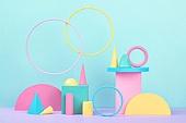 백그라운드, 사람없음, 오브젝트 (묘사), 컬러, 파스텔톤, 도형, 기하학모양, 교육 (주제), 장난감블록, 블록모양, 실내, 스튜디오촬영, 원형 (이차원모양), 원뿔, 육면체 (Three-dimensional Shape)