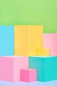 백그라운드, 사람없음, 오브젝트 (묘사), 컬러, 파스텔톤, 도형, 기하학모양, 교육 (주제), 장난감블록, 블록모양, 실내, 스튜디오촬영, 육면체 (Three-dimensional Shape)