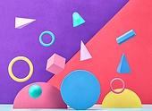 백그라운드, 사람없음, 오브젝트 (묘사), 컬러, 파스텔톤, 도형, 기하학모양, 교육 (주제), 장난감블록, 블록모양, 실내, 스튜디오촬영, 육면체 (Three-dimensional Shape), 원뿔, 원형 (이차원모양)