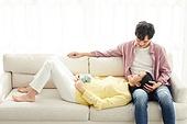 커플, 임신, 미소, 행복