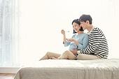 커플, 임신, 미소, 행복, 요구르트 (유제품), 먹기