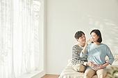 커플, 임신, 미소, 행복, 우유, 마시기