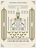 패턴, 도형, 기하학모양 (도형), 랜드마크, 한국전통문양 (패턴), 한국전통, 명동성당