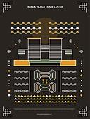 패턴, 도형, 기하학모양 (도형), 랜드마크, 한국전통문양 (패턴), 한국전통, 한국종합무역센터 (서울)