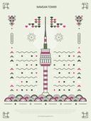 패턴, 도형, 기하학모양 (도형), 랜드마크, 한국전통문양 (패턴), 한국전통, 남산서울타워 (서울)