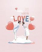 그래픽이미지, 편집디자인, 상업이벤트 (사건), 커플 (인간관계), 행복, 커플, 사랑 (컨셉), 프로포즈