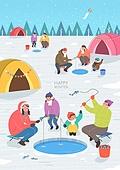 일러스트, 겨울, 상업이벤트 (사건), 축제 (엔터테인먼트), 벡터 (일러스트), 빙어, 빙어축제