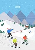일러스트, 겨울, 상업이벤트 (사건), 축제 (엔터테인먼트), 벡터 (일러스트), 스키, 스키장, 스포츠