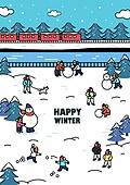 일러스트, 겨울, 상업이벤트 (사건), 축제 (엔터테인먼트), 벡터 (일러스트), 눈사람, 눈싸움, 가족