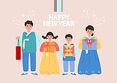 새해 (홀리데이), 연하장 (축하카드), 쥐띠해 (십이지신), 사람, 연례행사 (사건), 상업이벤트 (사건), 가족, 한복, 선물 (인조물건)