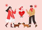커플, 사랑 (컨셉), 연례행사 (사건), 상업이벤트 (사건), 발렌타인카드 (축하카드), 발렌타인데이 (홀리데이), 하트, 애완견 (개)
