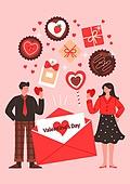 커플, 사랑 (컨셉), 연례행사 (사건), 상업이벤트 (사건), 발렌타인카드 (축하카드), 발렌타인데이 (홀리데이), 초콜릿 (달콤한음식), 편지