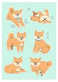 반려동물, 패턴, 캐릭터, 강아지, 애완견 (개), 시바이누 (순종개)