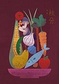 절기, 절기 (계절), 계절, 추분, 농작물 (식물), 수확 (움직이는활동), 채소 (음식), 과일