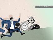 비즈니스, 직업 (역할), 콜라주 (이미지테크닉), 비즈니스맨, 바쁨