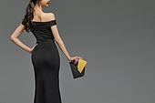 미녀 (아름다운사람), 검정색 (색상), 드레스, 초대장, 미소
