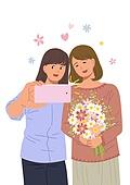 사람, 부모, 부모 (가족구성원), 사랑 (컨셉), 추억, 추억 (컨셉), 가족, 가정의달 (홀리데이), 엄마, 딸, 사진촬영 (촬영), 꽃다발