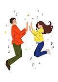 점프, 희망 (컨셉), 활력 (컨셉), 음표, 청년 (성인), 커플, 커플 (인간관계)