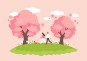 봄, 벚꽃, 벚나무 (과수), 소풍 (아웃도어), 소풍, 커플 (인간관계), 데이트, 걷기 (물리적활동), 애완견 (개)